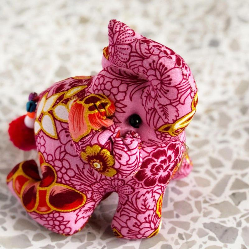 エスニック花柄 おすわり象のぬいぐるみ OE-CL13FL-SI