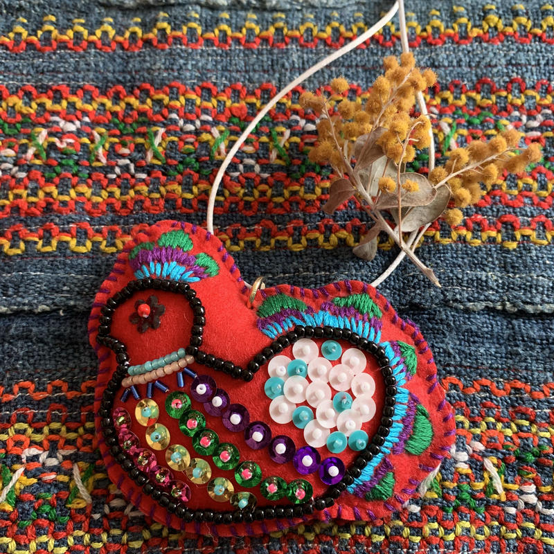 bead embroidery peacock ornament