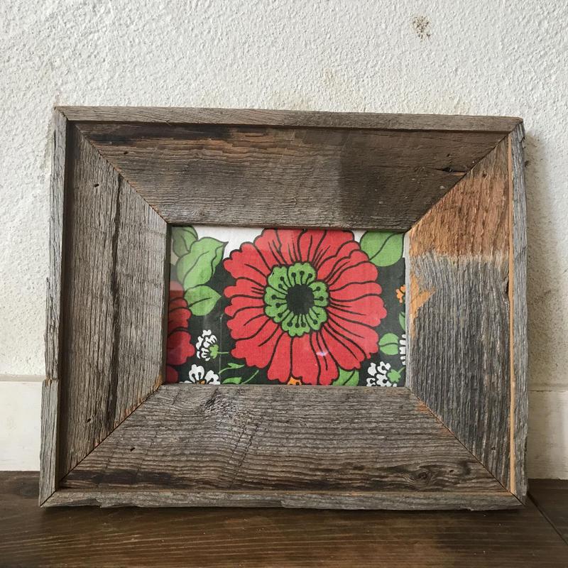 vintage fabric frame red  flower