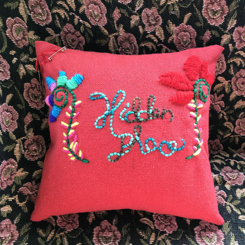 Hidden place  embroidery  cushion