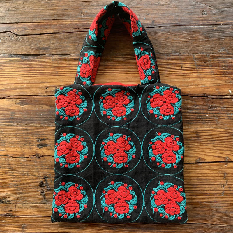50s flower embroidery  bag green