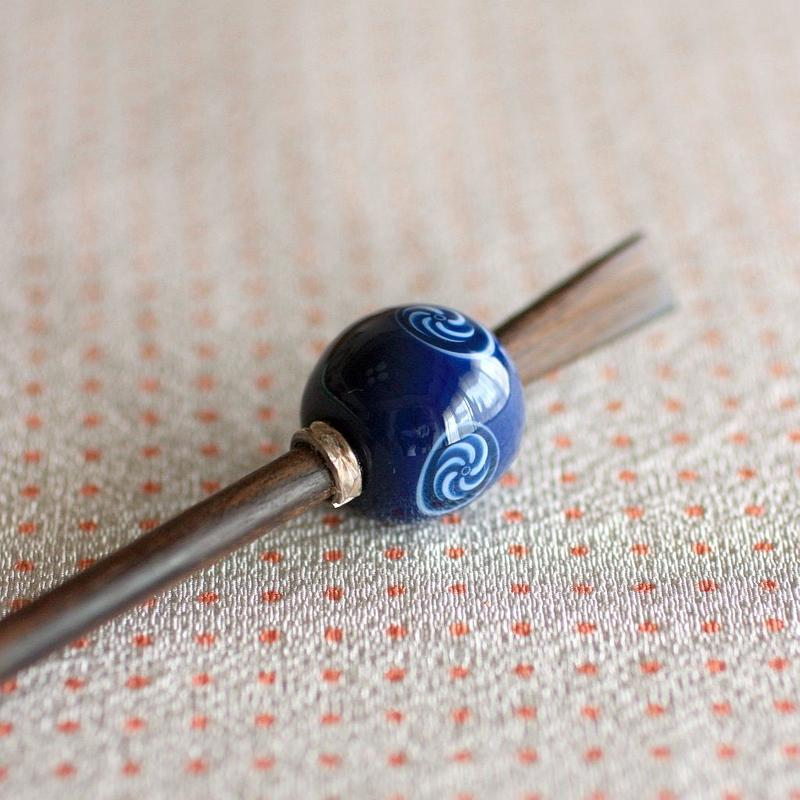 藍玉 獅子毛紋 蜻蛉玉簪