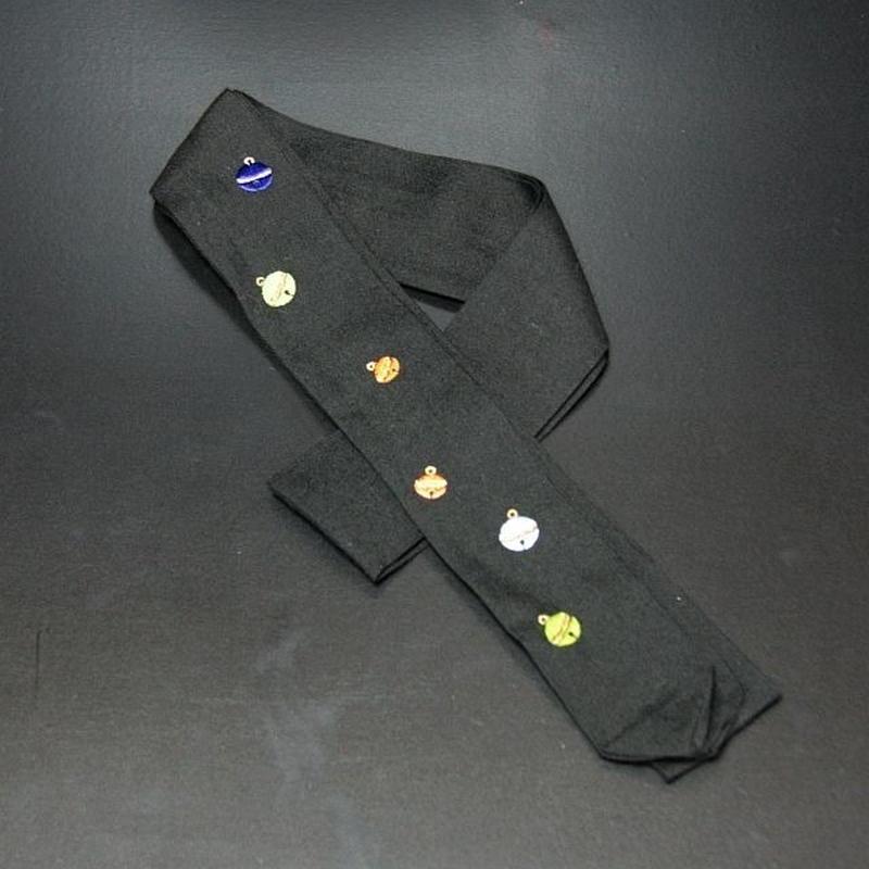 刺繍入り腰紐 鈴 黒
