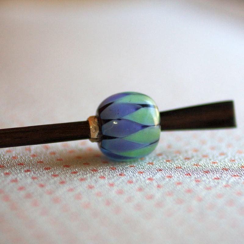 紫陽花玉 白緑浅葱 蜻蛉玉簪