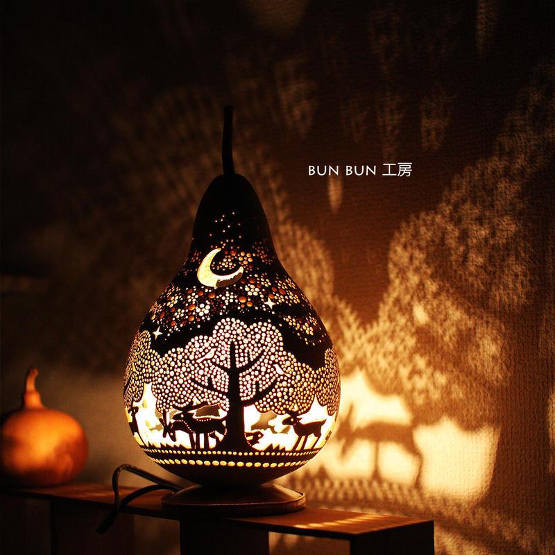 ひょうたんランプ--ーLサイズ 深夜の森と華吹雪