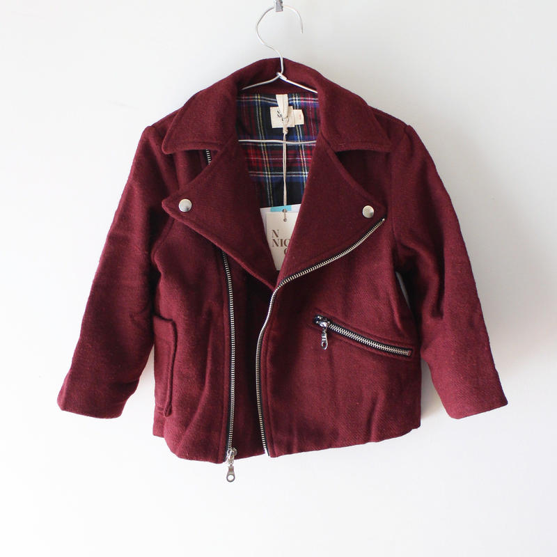Kids melton riders jacket / cranberry