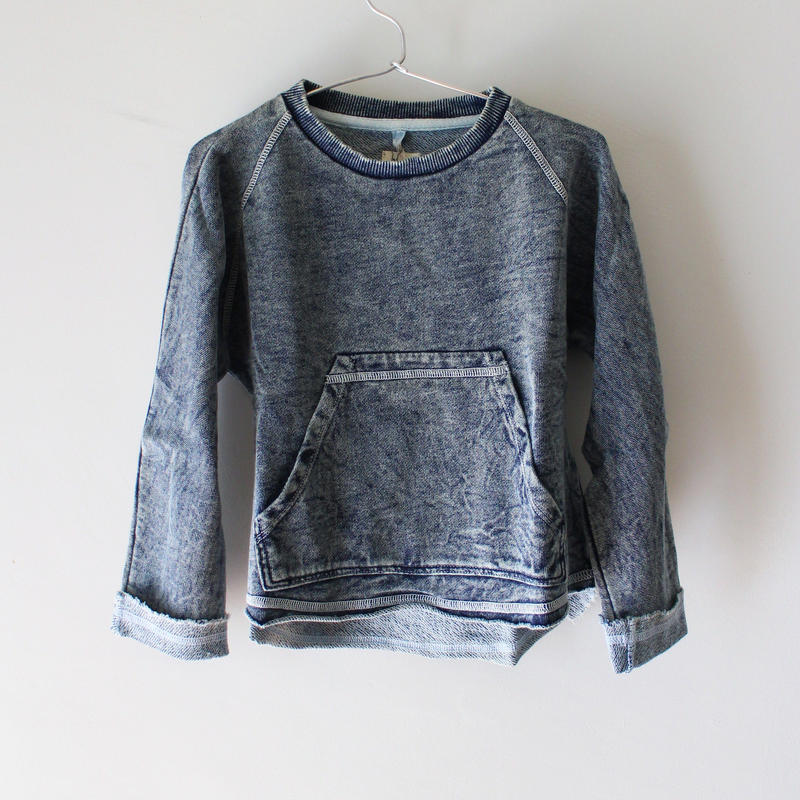 Kids heathered pull over / washed indigo
