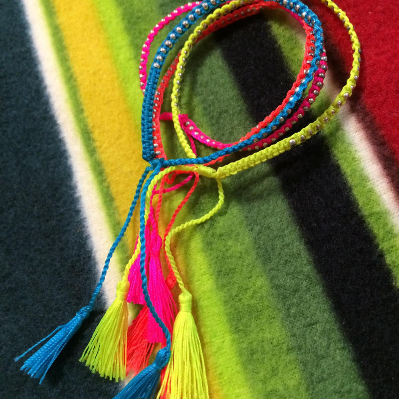 Set of 4 neon braided  bracelets