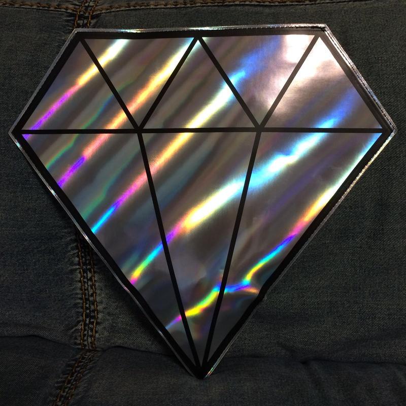 Diamond holographic  clutch w strap