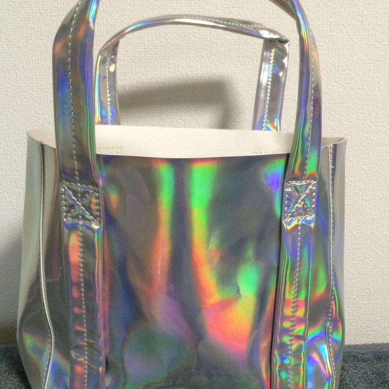 Mini matte holographic tote bag
