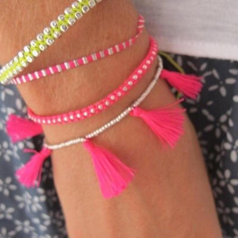 Silver beaded tassels bracelet