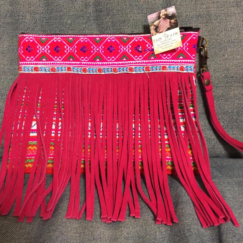 Pink suede  fringe clutch