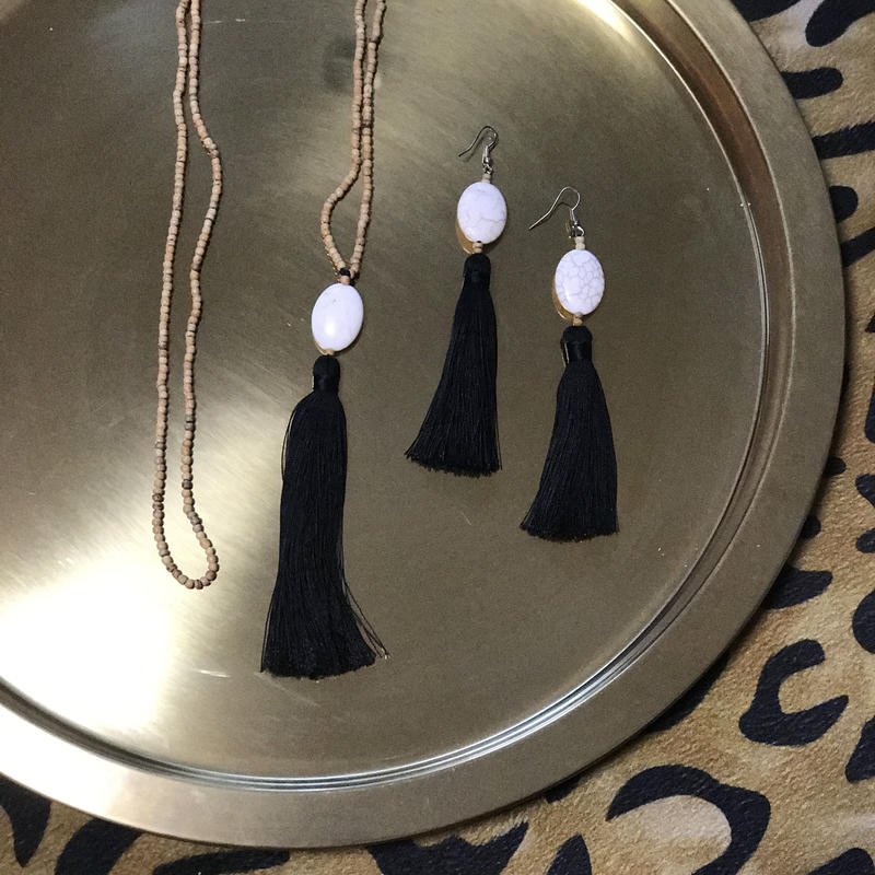 Ljc tassel necklace & earrings set