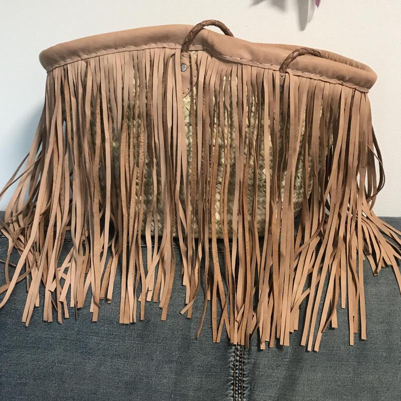 Leather fringed basket