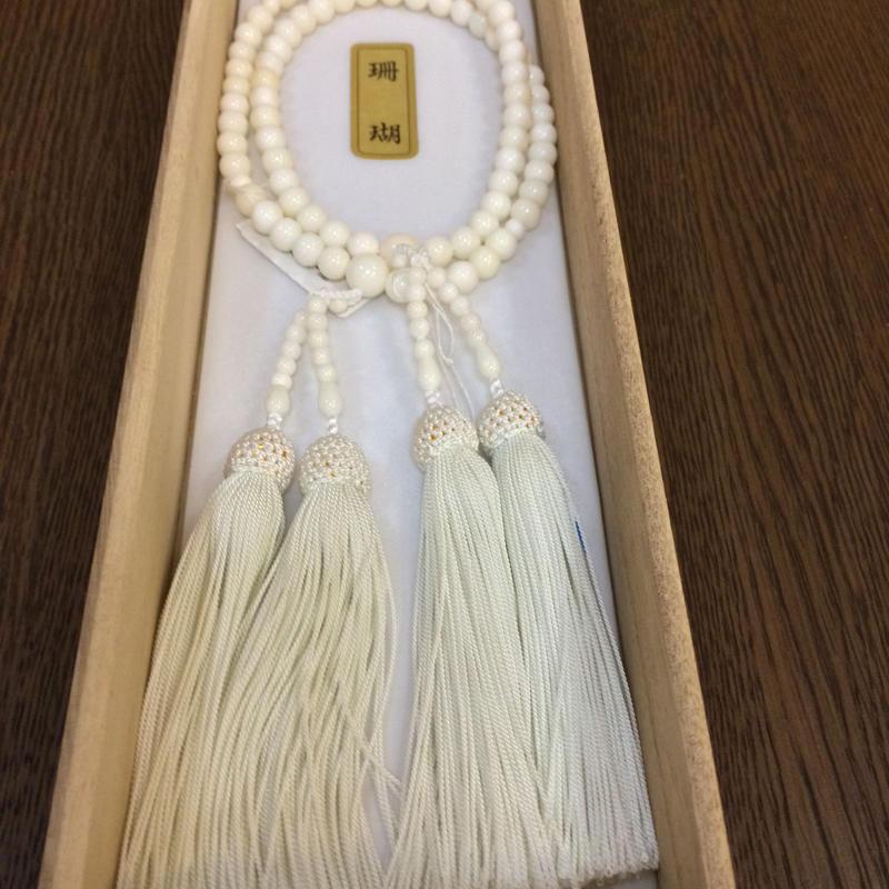 数珠 念珠 白本珊瑚