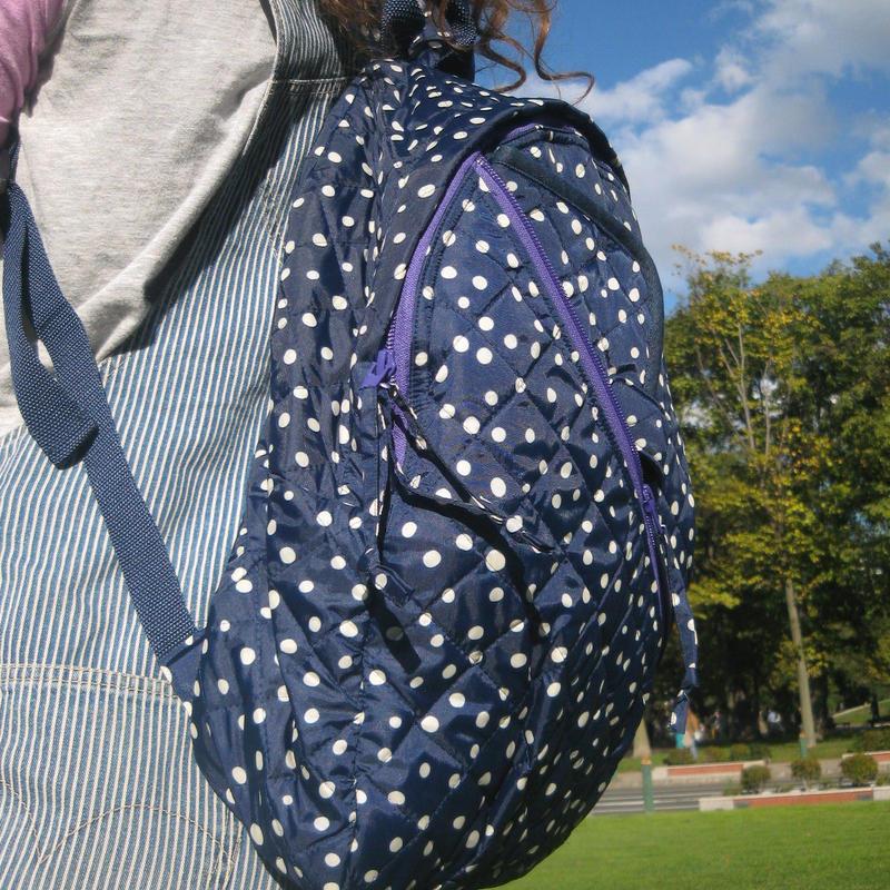 ハンドメイド/mama bag/Navy dot