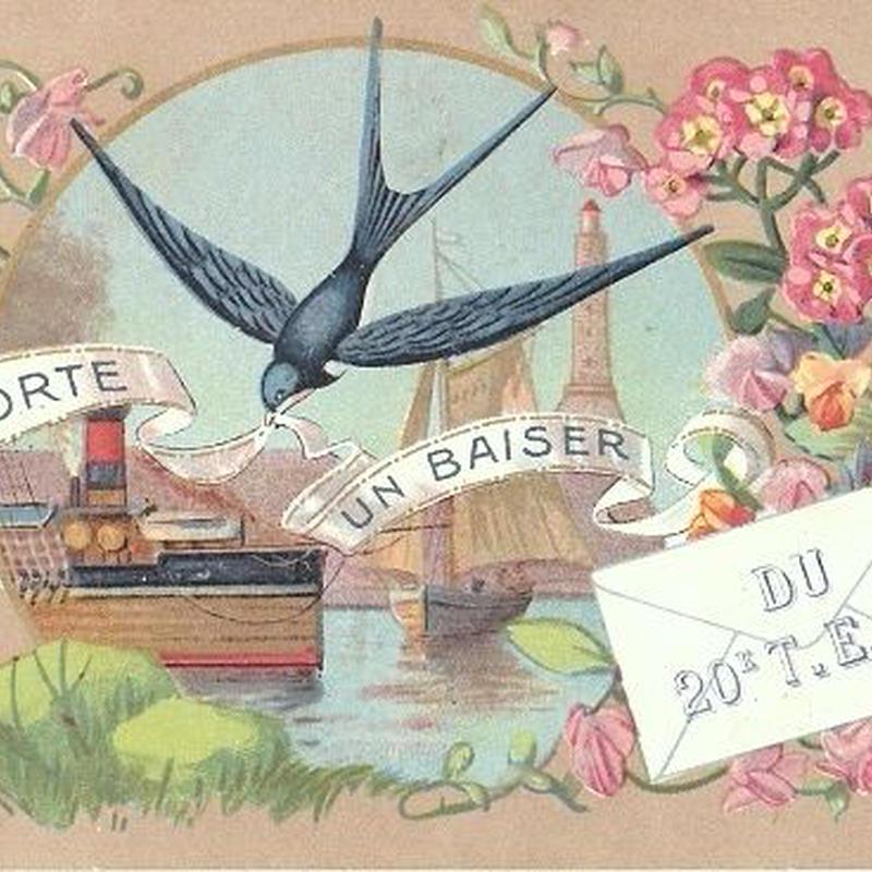 ツバメと海の風景のポストカード