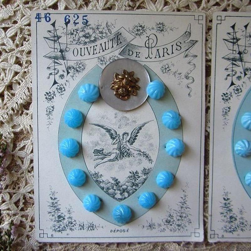 花モチーフ大きいボタン1つとガラスボタン11個のシート