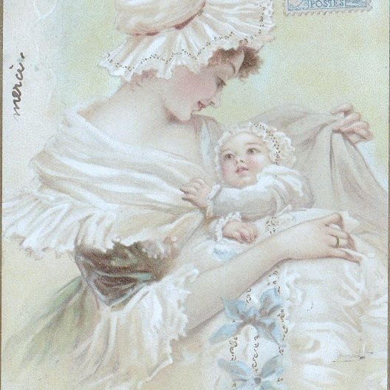 メイドさんを見つめる赤ちゃんのポストカード