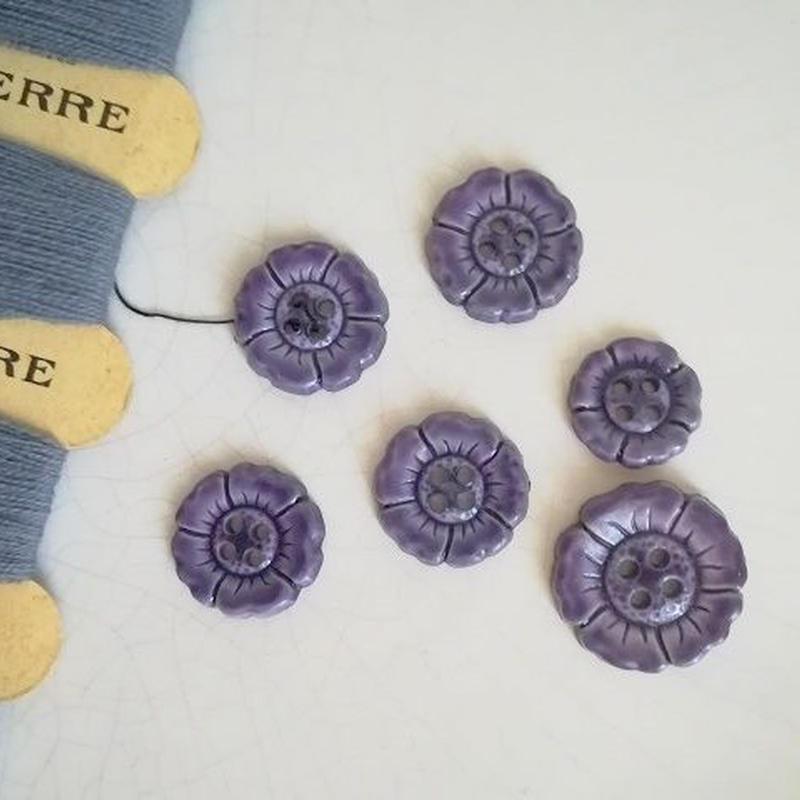 お花の形のボタン 紫(中)4個