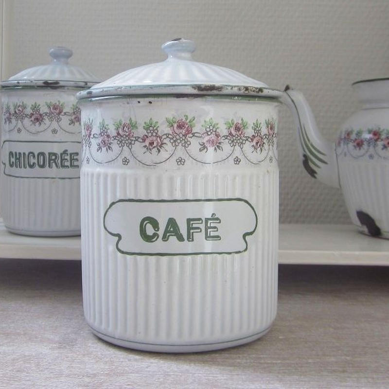BB社薔薇ガーランド白地×緑ラインキャニスター CAFÉ