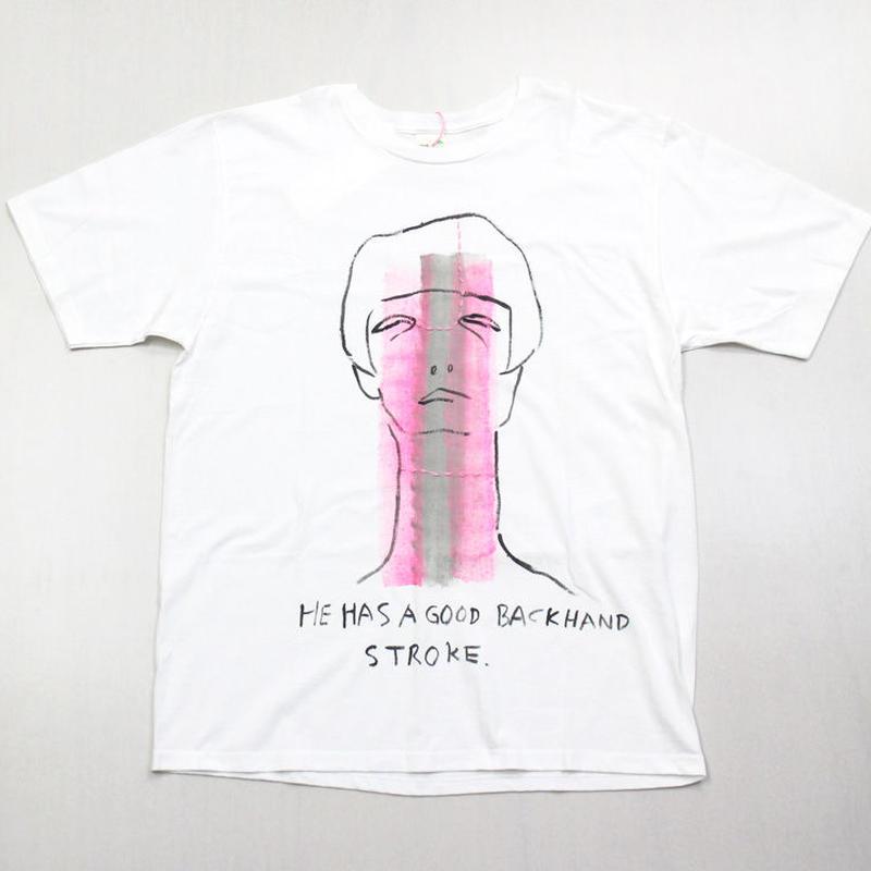 Tシャツ HE HAS A GOOD BACKHAND STROKE. (彼はバックハンドが上手い)
