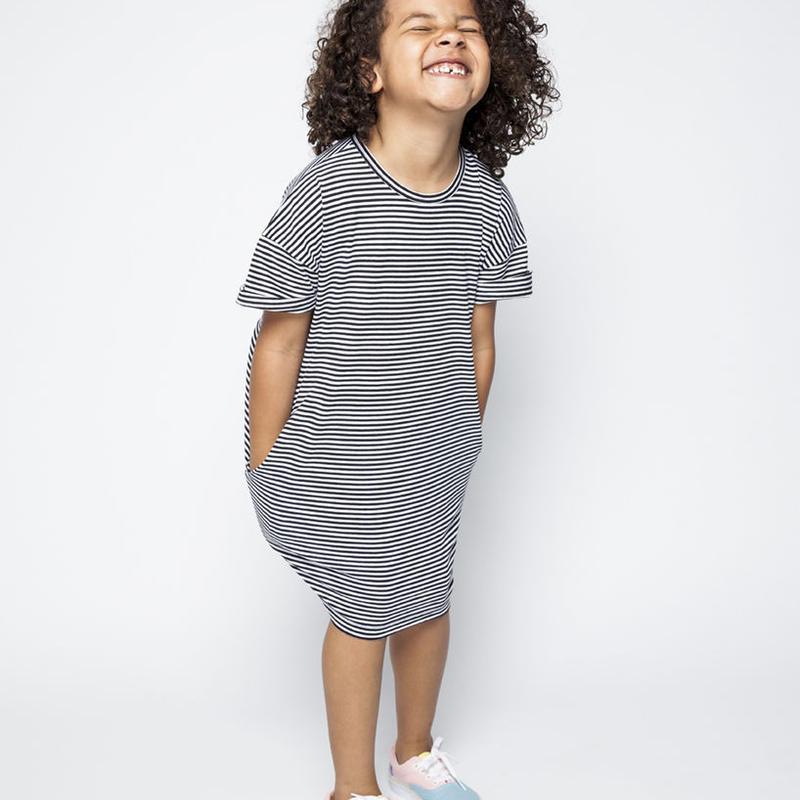 MINGO. T-shirt doress (B/Wstripes)