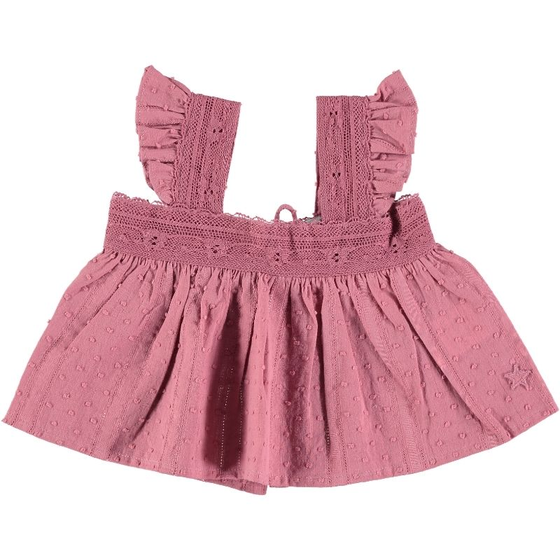 tocoto vintage  lace plumeti baby blouse(pink) 12m