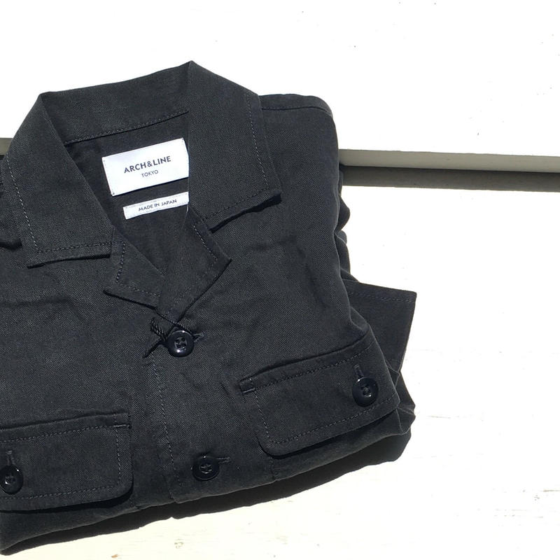 ARCH&LINE  OPENNECKED L/S SHIRT(BLACK)