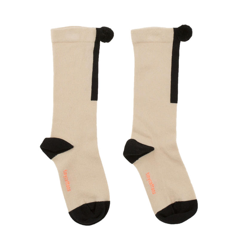 tinycottons pompom hight socks(beige/black)