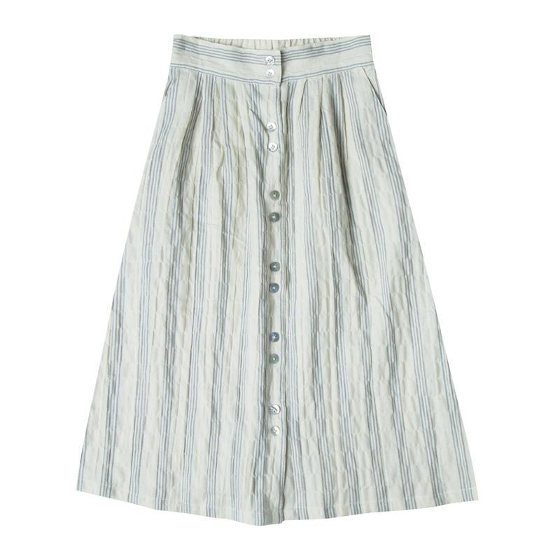 Rylee&cru  stripe button front midi skirt