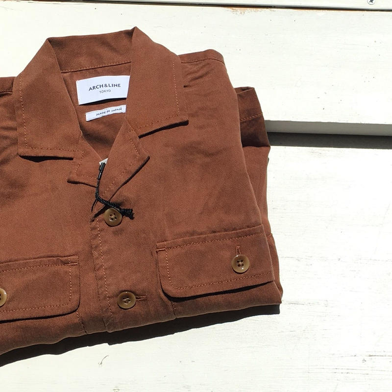 ARCH&LINE  OPENNECKED L/S SHIRT(BROWN)