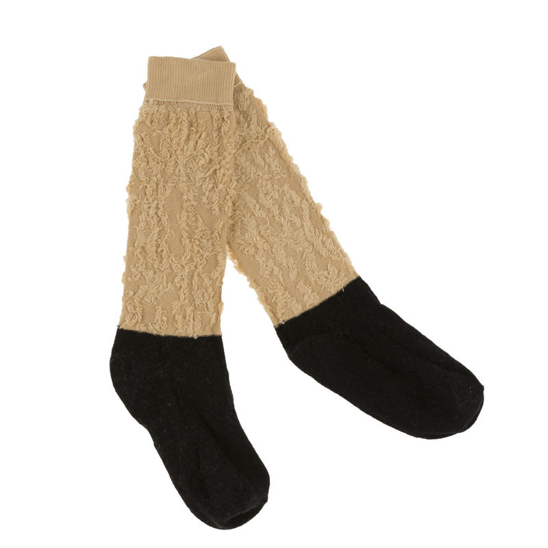tinycottons hairy color block high socks  (bro/bl)