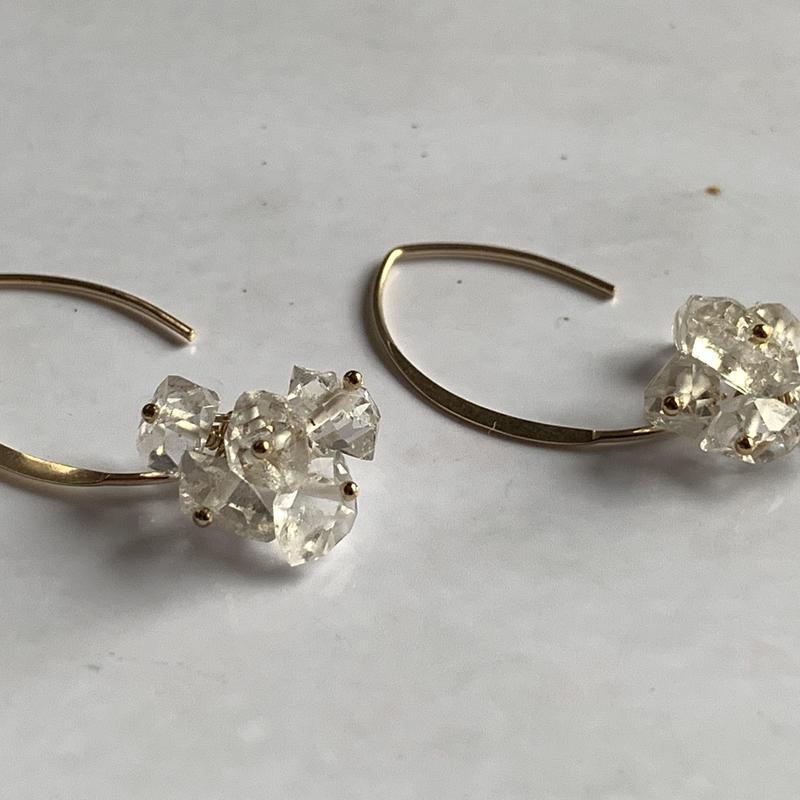 14kgfハーキマーダイヤモンドピアス