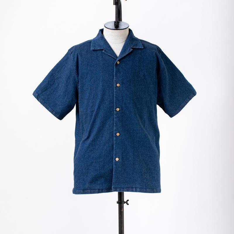 ストレッチデニム半袖開襟シャツ /  CALL & RESPONSE / 191-1214-04 IND/L.BLU