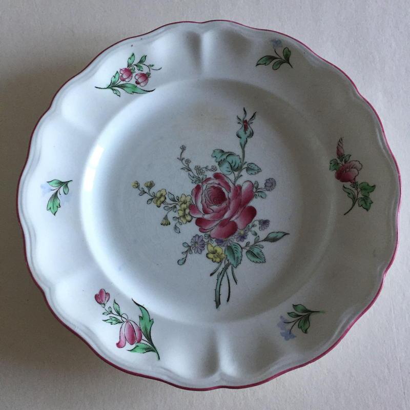 19世紀 リュネヴィル ディナー・プレート チャイナ 薔薇柄 1