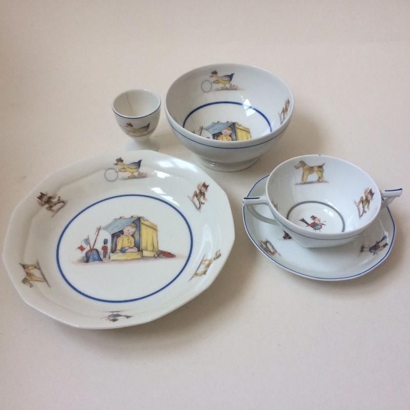 1920年代 リモージュ シャピュイ・エ・フィス 子供用食器セット ポーセレン