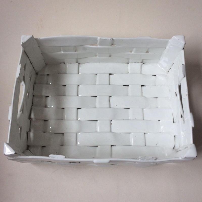 1950年代 カジェット マルシェ・パニエ 陶器 白