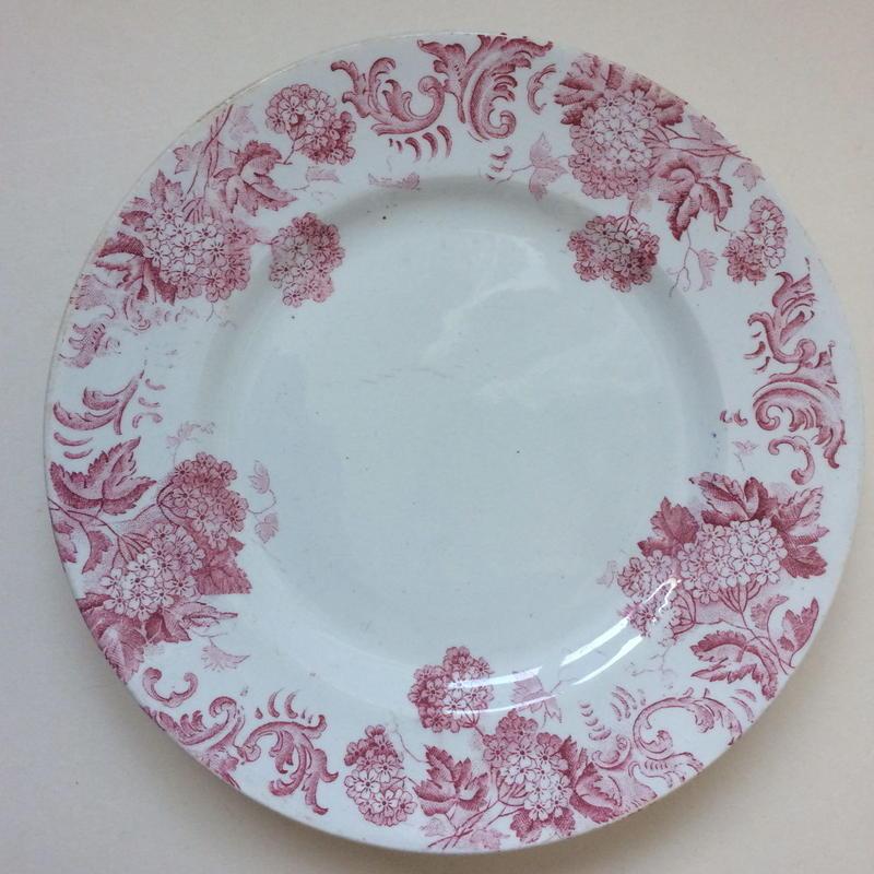 19世紀 サンタマン ハマージュ プラ・ア・ガトー ケーキプレート ブール・ド・ネージュ 紫陽花モチーフ  2
