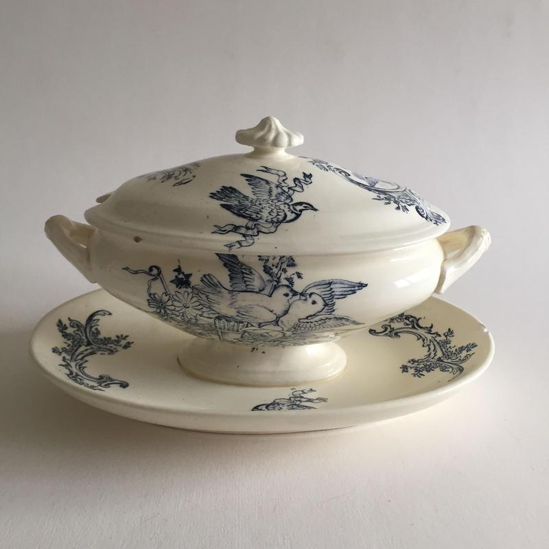 19世紀 オ・リオン・ド・ファイアンス サラン窯製 蓋つき ソーシエー  小鳥柄
