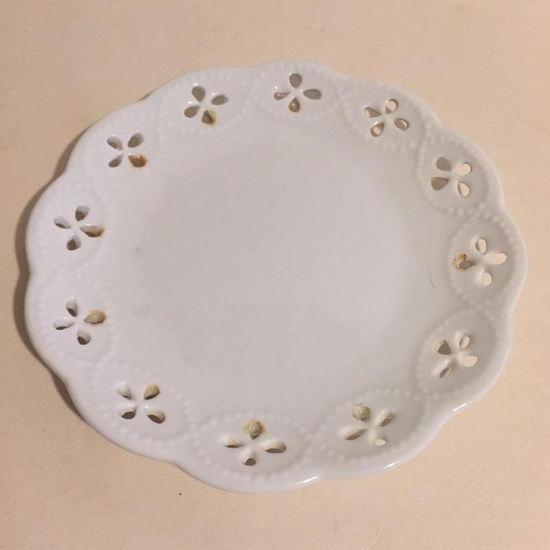 19世紀 アシエット・アジュレ レース皿 小皿 白