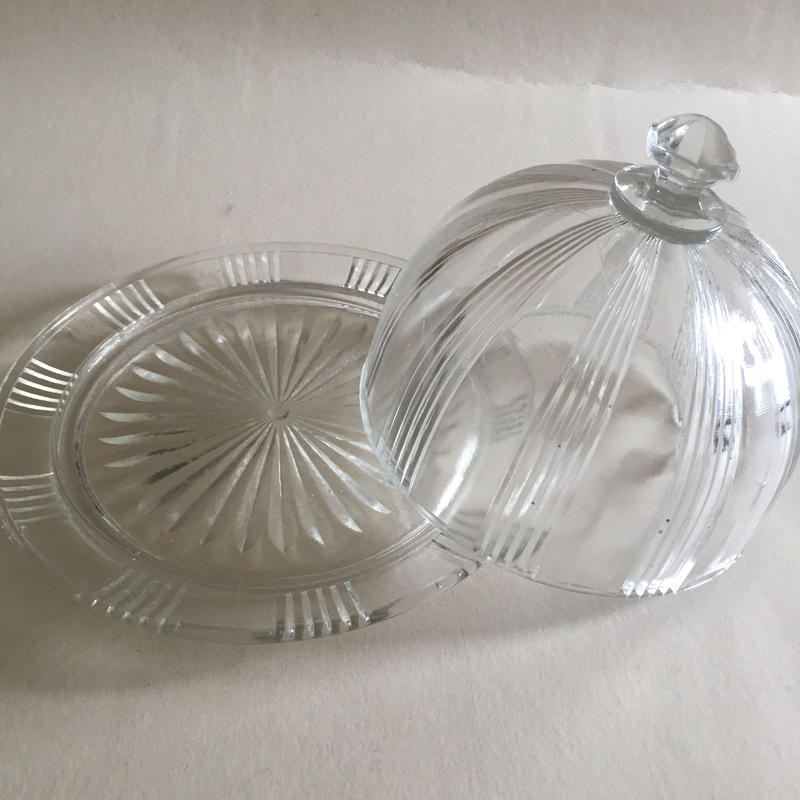 1930年代 チーズ バター ケーキ ドーム クロッシェ 鋳造ガラス