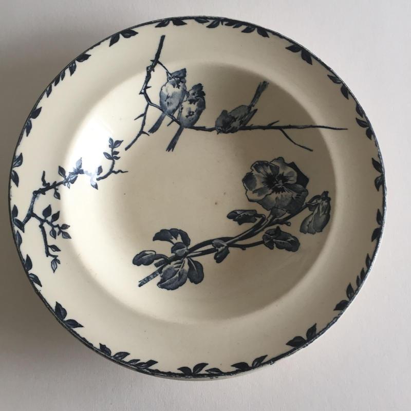 19世紀 グランデポ エミール・ブルジョワ スーププレート 深皿 小鳥柄 1