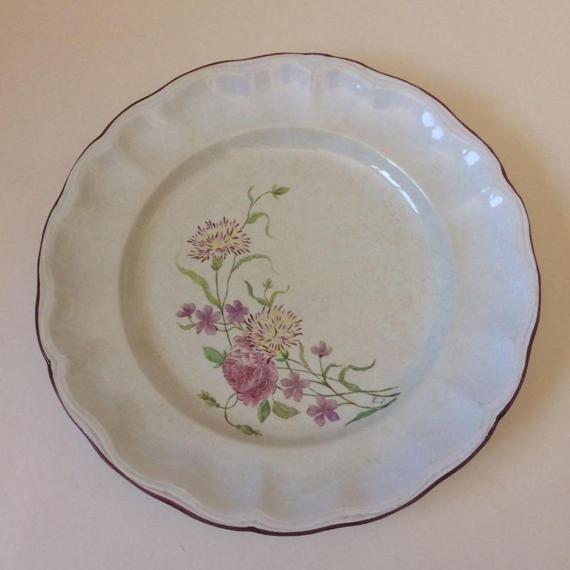 19世紀 お花柄 花リム お皿 アシエット プレート