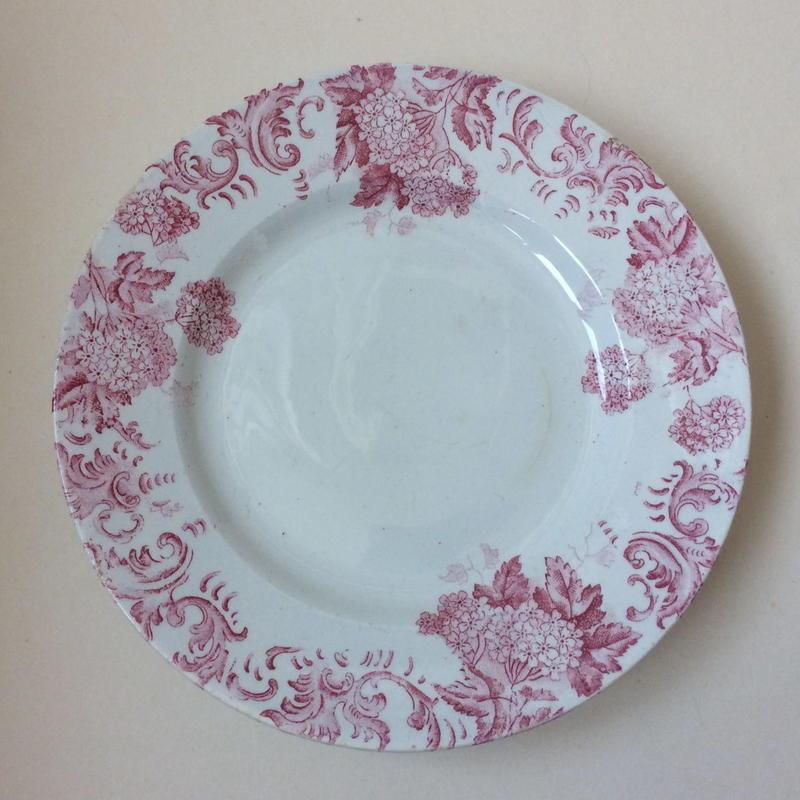 19世紀 サンタマン ハマージュ プラ・ア・ガトー ケーキプレート ブール・ド・ネージュ 紫陽花モチーフ 1