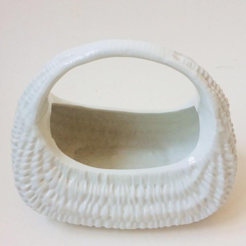 1950年代 パニエ かご 陶器 白