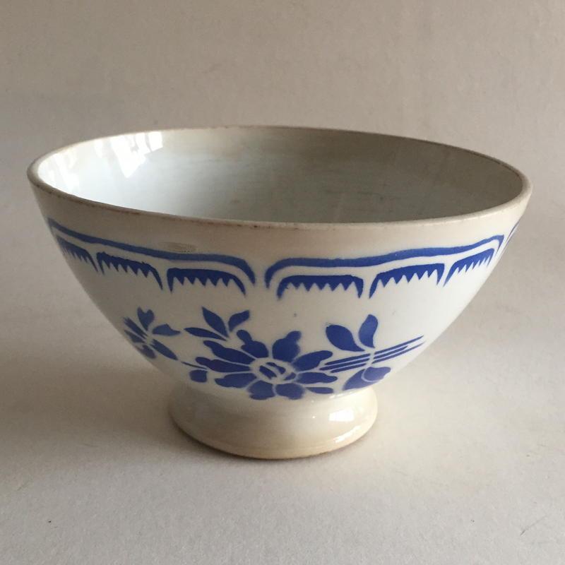1920年代  ムーラン・デ・ルー ボウル カフェオレボウル ブルーのお花柄 ステンシル