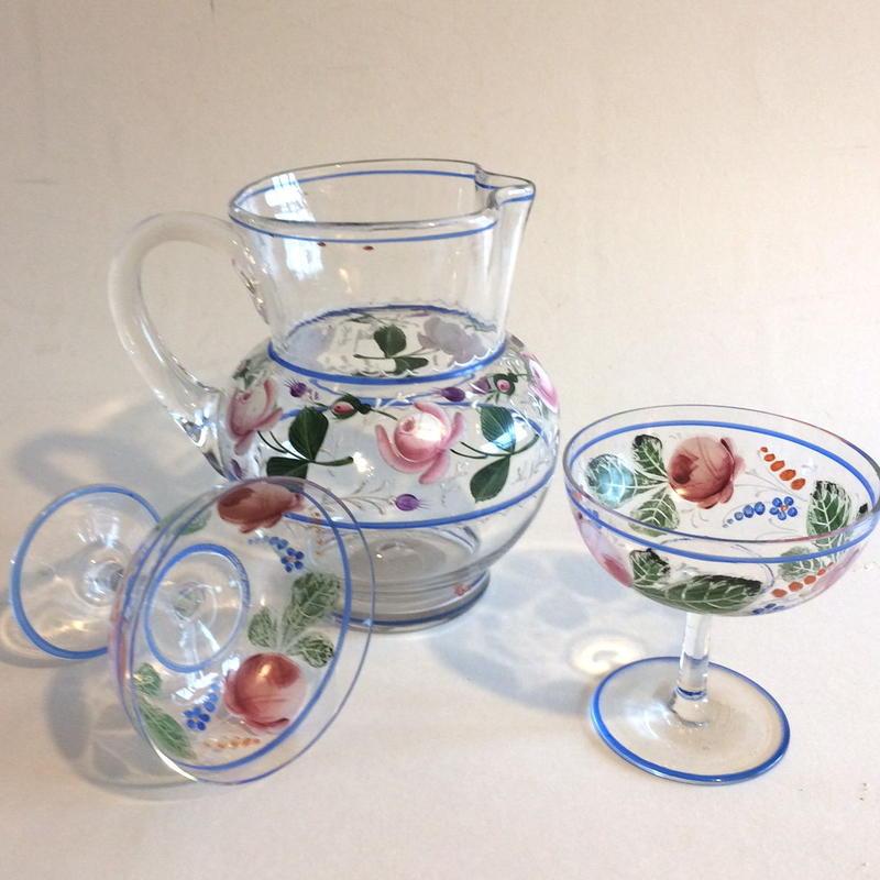 19世紀 ピッチャー シャンパン・グラス セット 吹きガラス ハンドペイント ばら柄