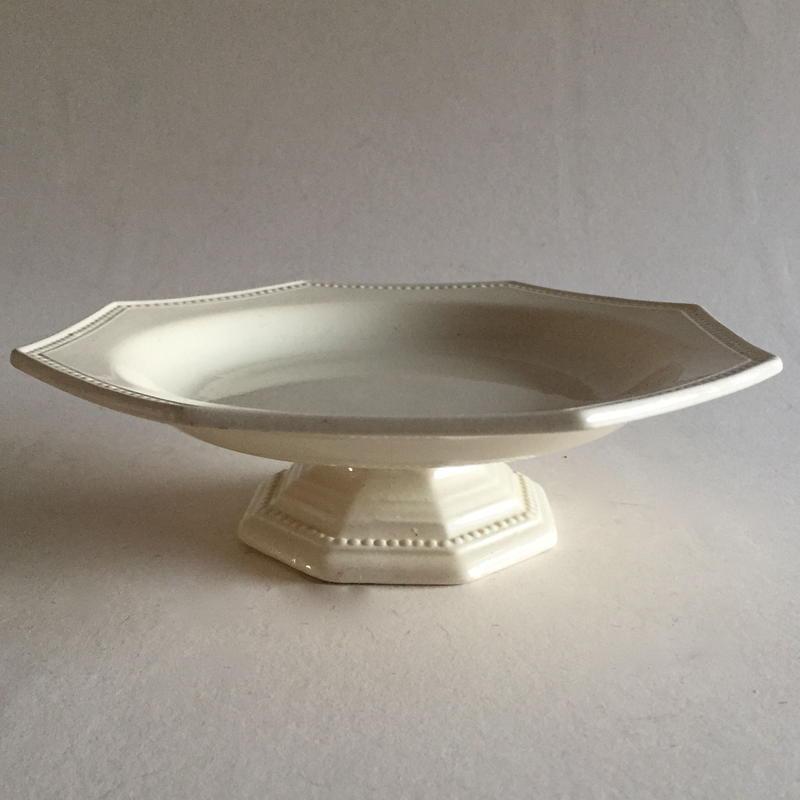 19世紀 モントロー(クレイユ・エ・モントロー)コンポティエ フルーツ皿 オクトゴナル 白