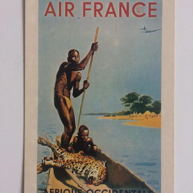 ビンテージ ポストカード エールフランス ポスター 1949年 アフリカ アンドレ・ブルネ